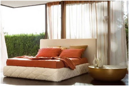 UPHOLSTERED BEDS ORANGE - MODERN BEDROOMS - TAPESTRY FOR DORMS