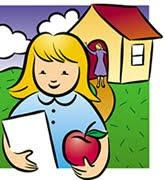 Dibujo de niña con cuaderno y manzana