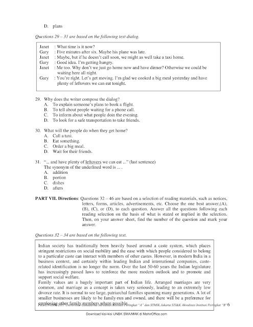 Soal + Jawaban Pra UN B. Inggris SMK/MAK TKP Paket A & B