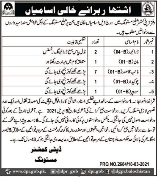 Deputy Commissioner District Office Jobs 2021 in Balochistan