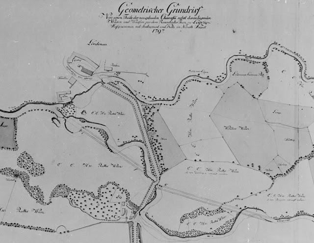 Geometrischer Grundriss  Von einem Theile der neugebauten Chaussee, nebst daran liegenden  Wiesen und Wassern vor dem Rannstädter Thore zu Leipzig.  Aufgenommen mit den Instrument und Kette im Monat August  1797.