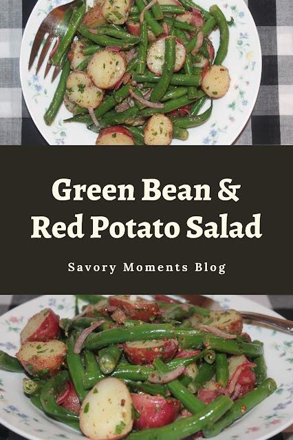 Bowls of green bean and red potato salad.