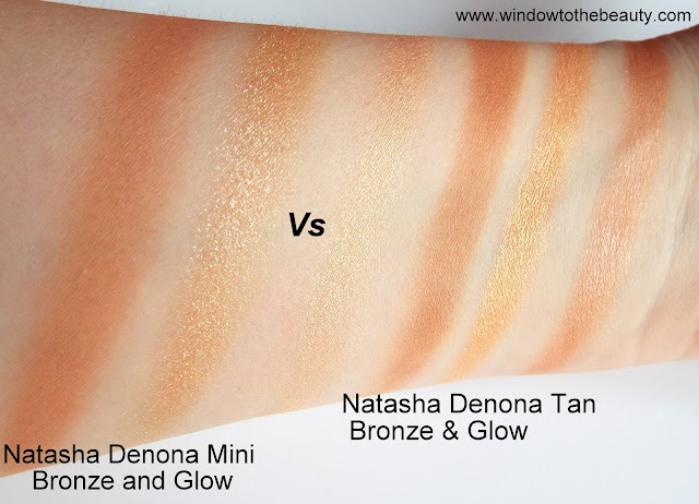 Natasha Denona Tan Bronze & Glow Palette vs Bronze & Glow swatches Mini