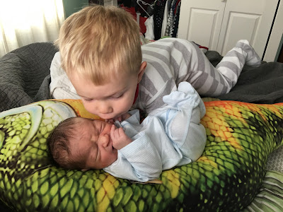 toddler kissing new baby brother