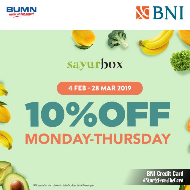 #BankBNI - #Promo Diskon 10% di Sayurbox Pakai Kartu Kredit BNI (s.d 28 Mar 2019)
