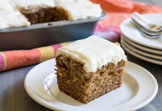 Apple Spice Cake with Cream Cheese Frosting #cake #desserts