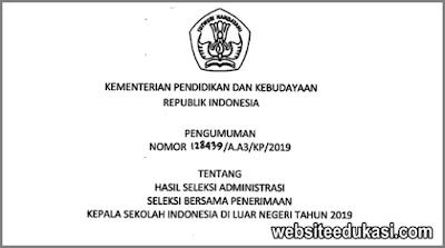 Pengumuman Hasil Seleksi Penerimaan Kepala SILN 2019
