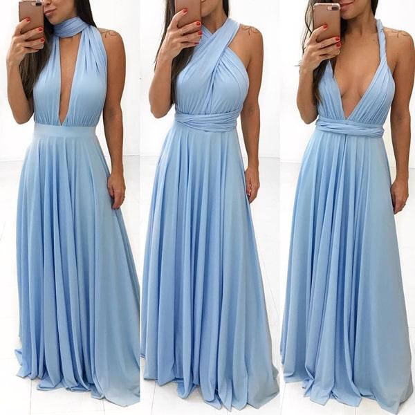 vestido longo azul serenity amarração