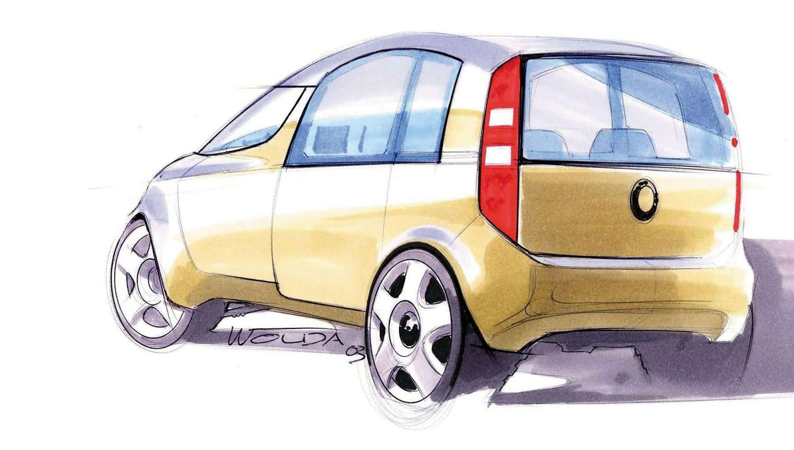 Skoda Roomster sketch by Peter Wouda - early theme, rear view