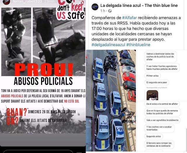 Amenazan en las redes sociales a la policía local de Alfafar tras una intervención con menores y la detención del hermano de uno de ellos de 20 años