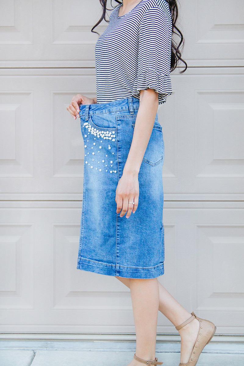 too big denim skirt waistband