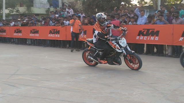 KTM organises a spectacular Stunt show in Khammam