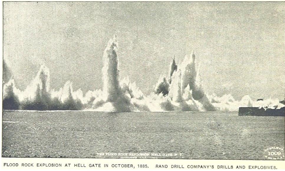 Flood rock explosion on October 10, 1885.