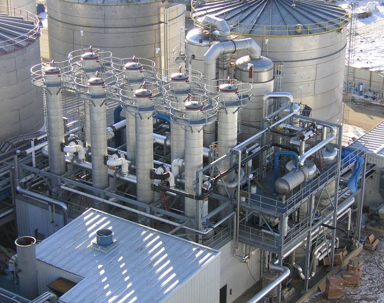 Planta industrial con cristalización evaporativa