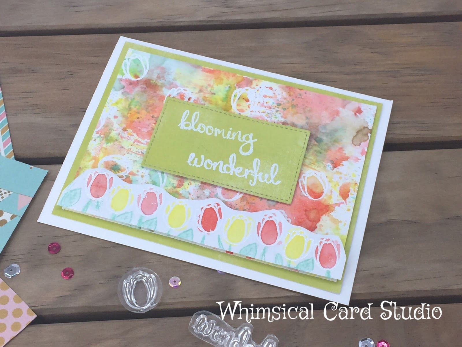 Cream colored cardstock paper studio - I Then Took A Separate Piece Of White Cardstock And Stamped Tulips In A Row In Versamark Heat Embossed In White Then Used The Same Distress Ink Colors And
