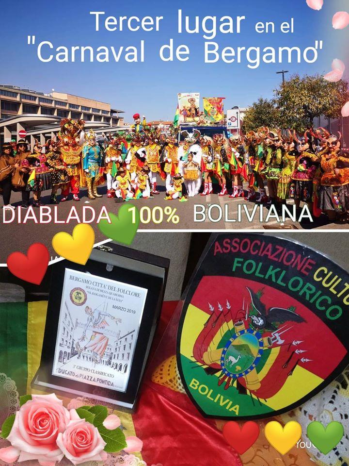 Postal de la Associazione Cultural Folklorico Bolivia hace casi un año, cuando todavía se podía bailar en las calles de Bérgamo / FACEBOOK