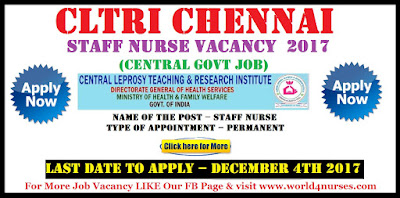 CLTRI Chennai Staff Nurse Vacancy December 2017 (Central Govt Job)