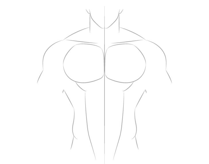 Anime otot laki-laki abs menggambar garis besar