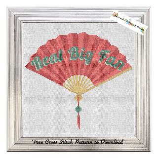 chinese fan cross stitch pattern free to download