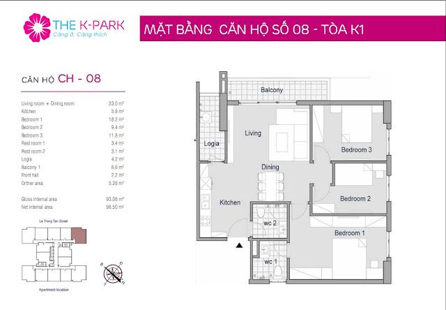 Thiết kế căn hộ 08 - Dt 93m2 - 03 phòng ngủ