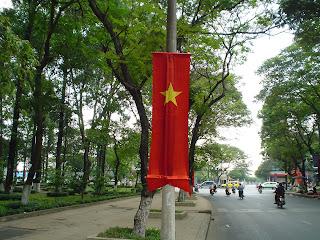 Flag in park. Ho Chi Minh City (Vietnam)