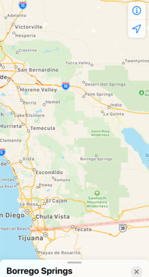 Location of Borrego Springs as shown on iPhone map application