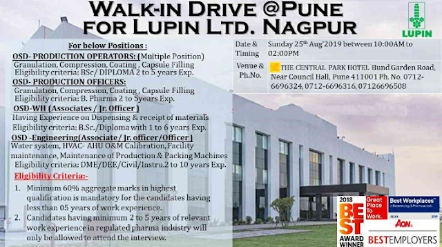 LUPIN Walk in for  OSD production ,Warehouse,Engineering Dept on 25 August 2019 at PUNE