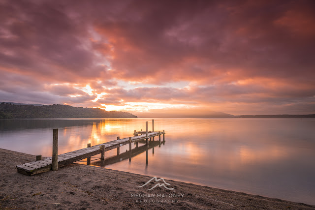 lake tarawera clouds sunrise