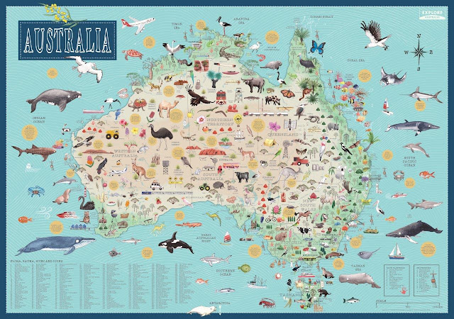 australia illustrated map december 2017 hardie grant travel 2495 poster 950mm x 1350mm 9781741175578