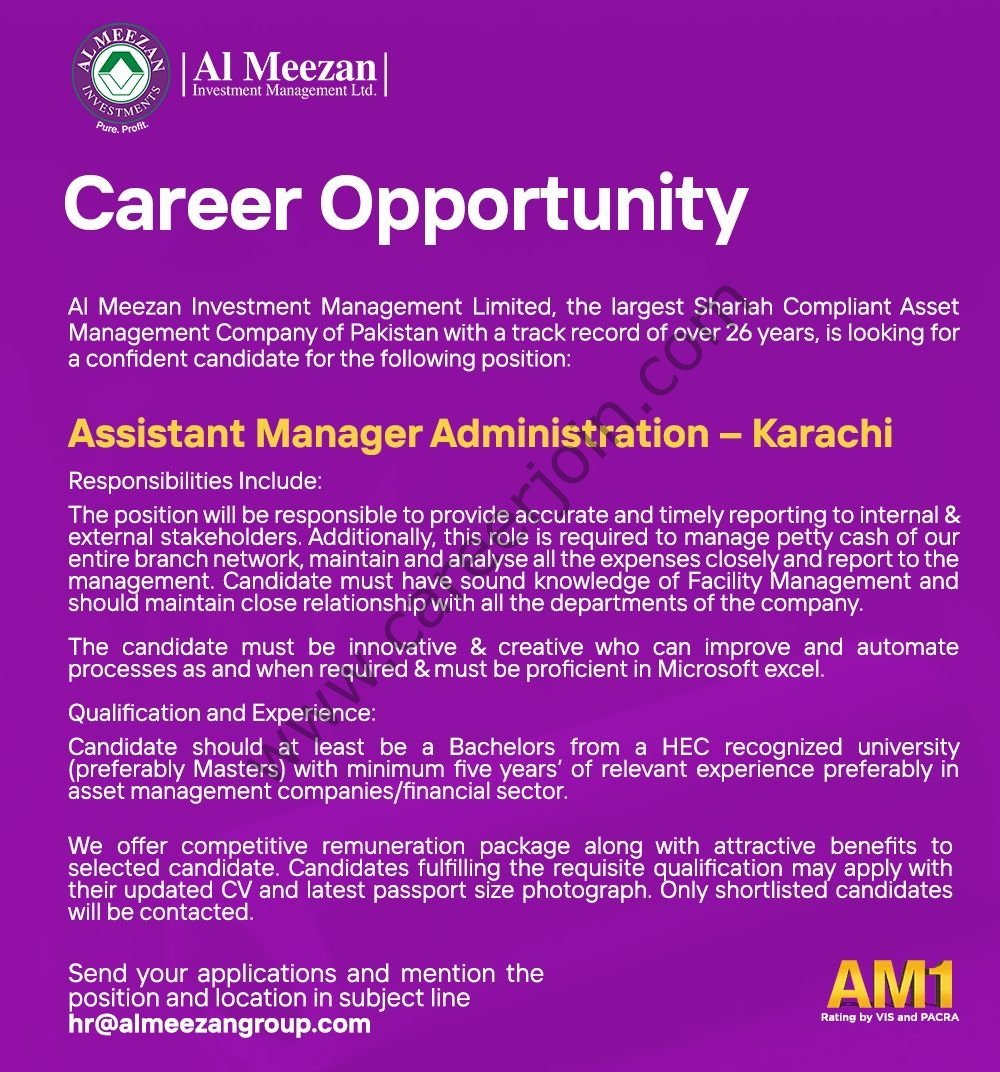 Al Meezan Investments Management Limited Jobs Assistant Manager Administration