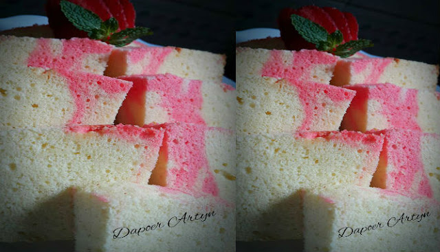 Resep Chiffon Marble Strawberry Cake