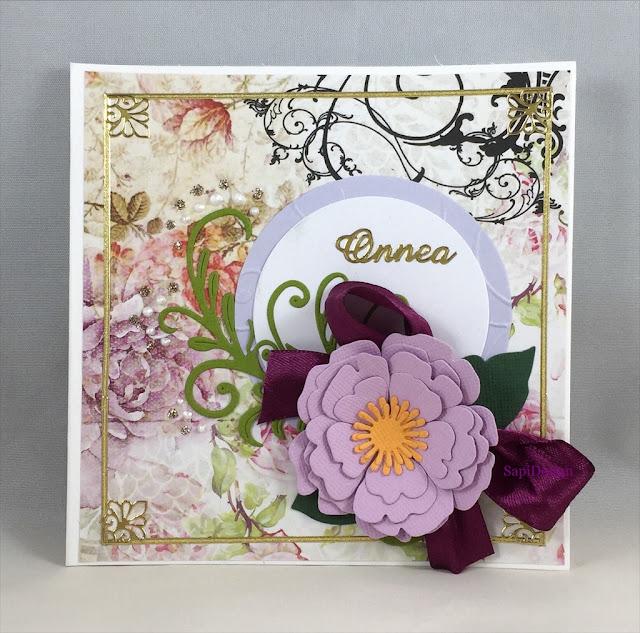Happy Birthday card handmade shabby chic Marianne Design die cutting SapiDesign