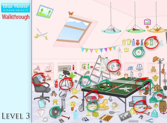 Blue House Hidden Objects Level 3
