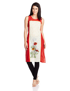 Rs. 539 Aurelia Cotton Sleeveless Round Neck Red Kurta from Fashiondiya
