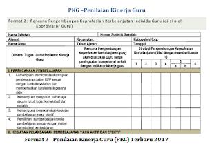 Format 2 - Penilaian Kinerja Guru (PKG) Terbaru 2017