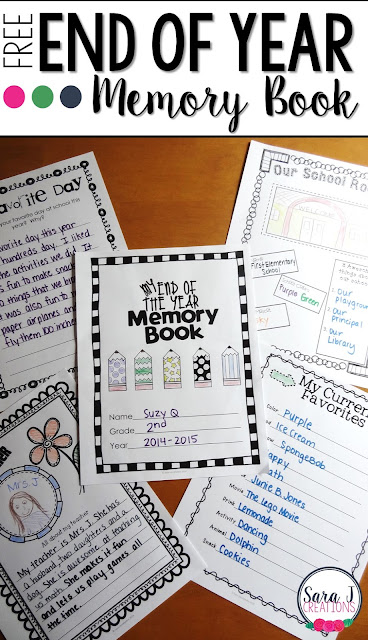 This free memory book is perfect for the end of the school year