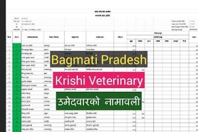 Bagmati Provice - Krishi Veterinary - Name of the candidate