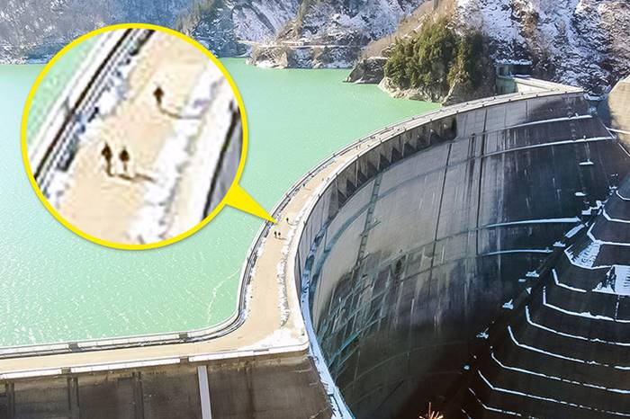Kurobe Dam in Japan, compared to which people seem to be ants