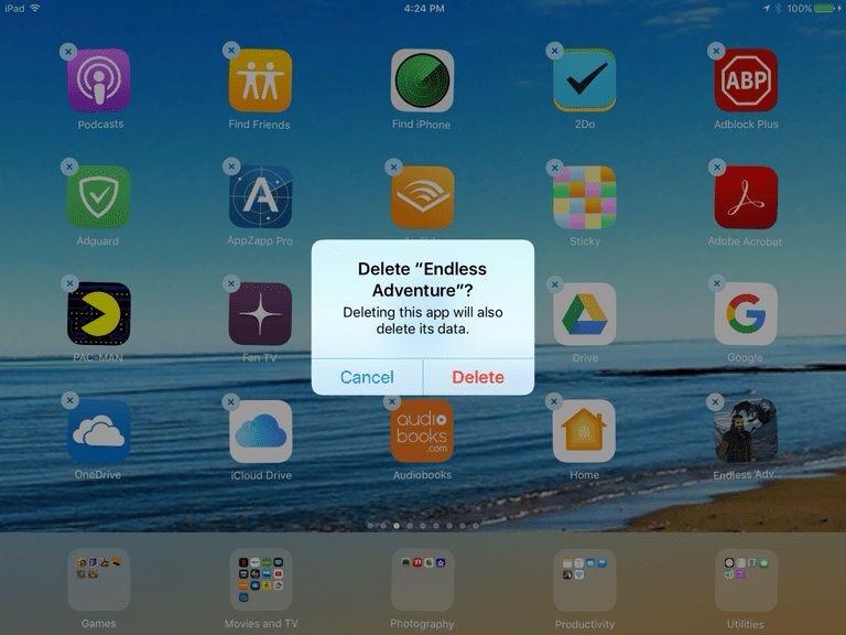 Menghapus Aplikasi di iPad