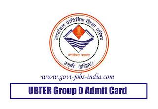 UBTER Group D Admit Card 2019
