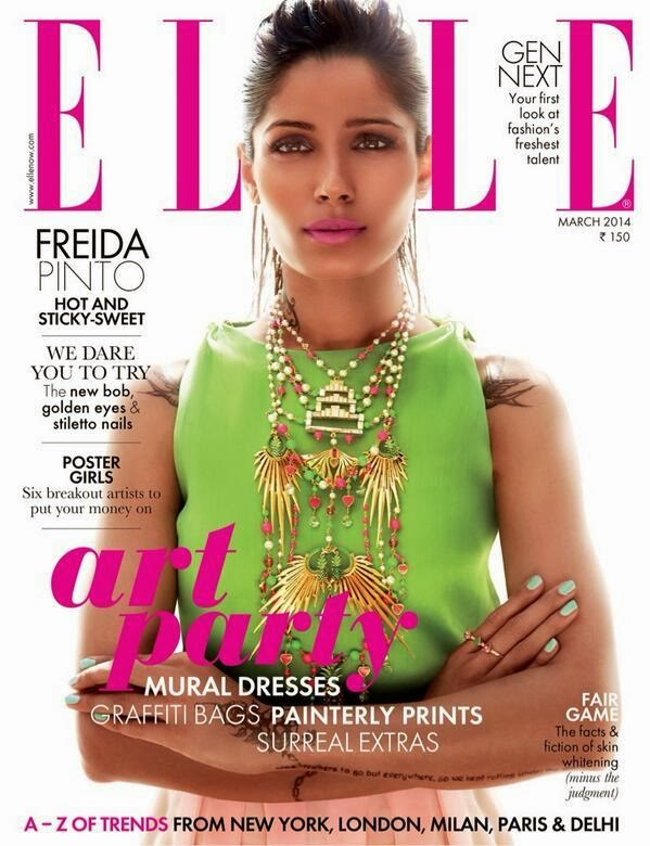 Freida Pinto on covers of Elle magazine