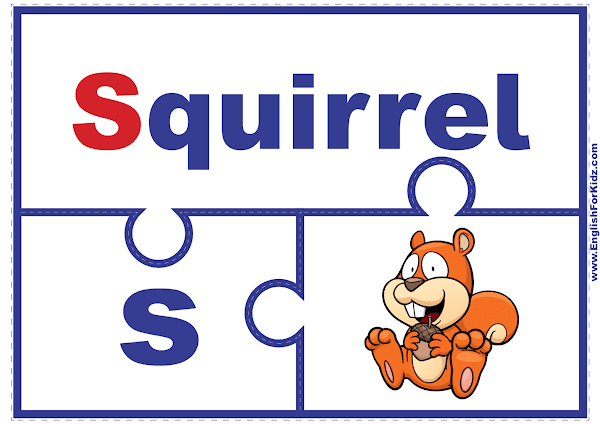 Letter S matching puzzle - printable English alphabet learning activity