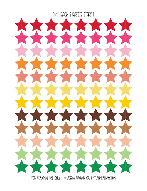 "3/4"" Back 2 Basics Stars Page 1 on myplannerenvy.com"