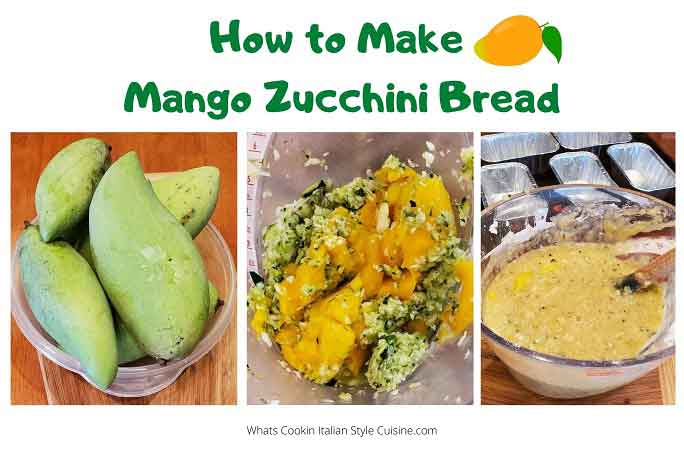 this is a collage on how to make mango zucchini bread
