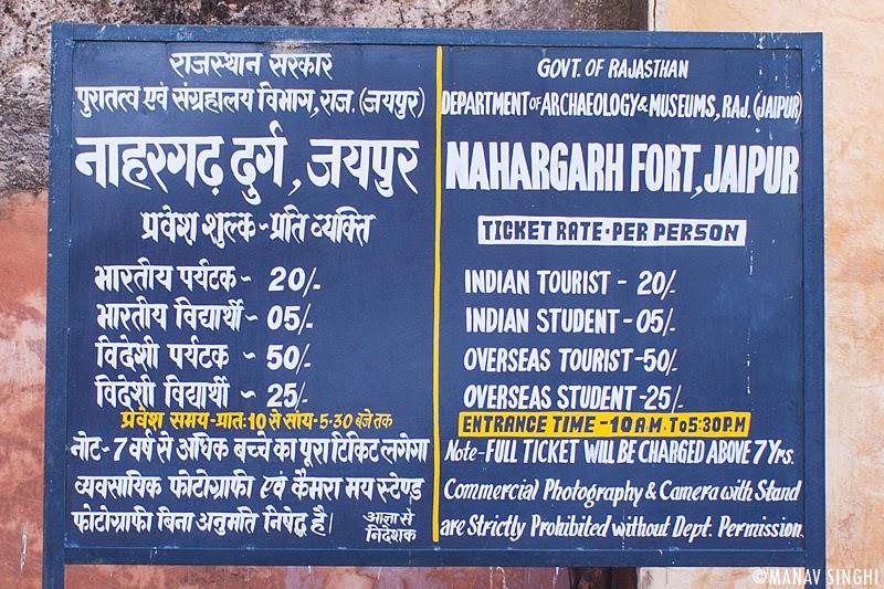 Information Board at Nahargarh Fort, Jaipur.