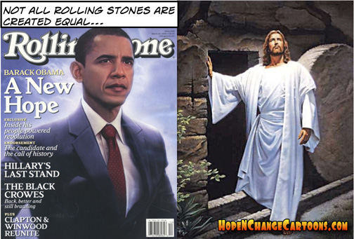obama, obama jokes, political, humor, cartoon, conservative, hope n' change, hope and change, stilton jarlsberg, jesus, tomb, easter, rolling stone