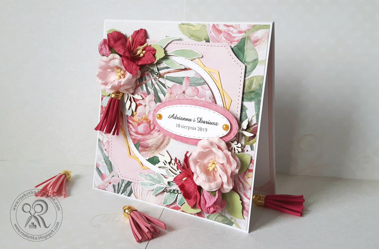 Różowa kartka na ślub z frędzelkiem