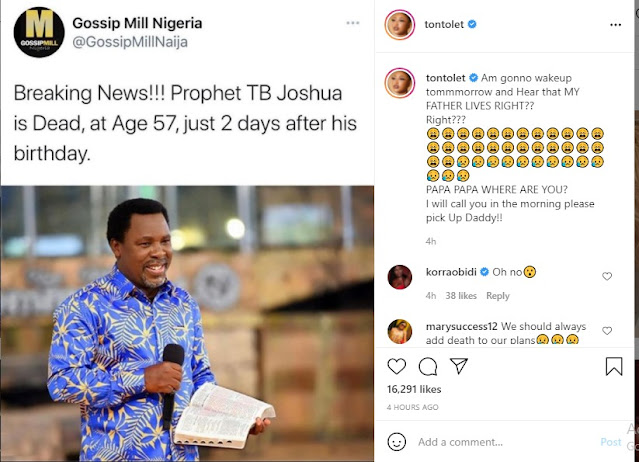 Pick up your call daddy – Actress Tonto Dikeh reacts to the death of Pastor TB Joshua