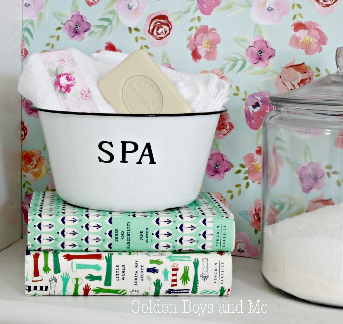 Vintage style enamel bowl for soap on shelf in bathroom - www.goldenboysandme.com
