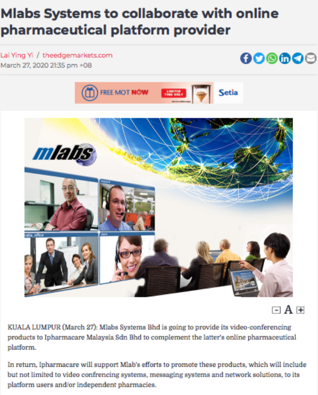 Mlabs System Berhad, glove manufacturing, healthcare, Covid-19, Stock exchange, BSKL, business, economy, Rawlins GLAM, Rawlins Lifestyle